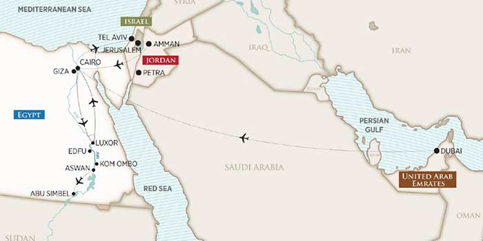Escorted Egypt River Cruise Itinerary Map