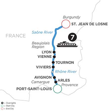 South France escorted river cruise map