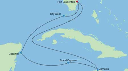 Mexico, Jamaica & Grand Cayman cruise map